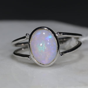 Natural Australian Opal Silver Ring - Size 6.5