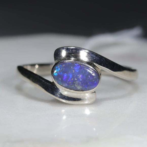 Natural Australian Opal Silver Ring - Size 9.5
