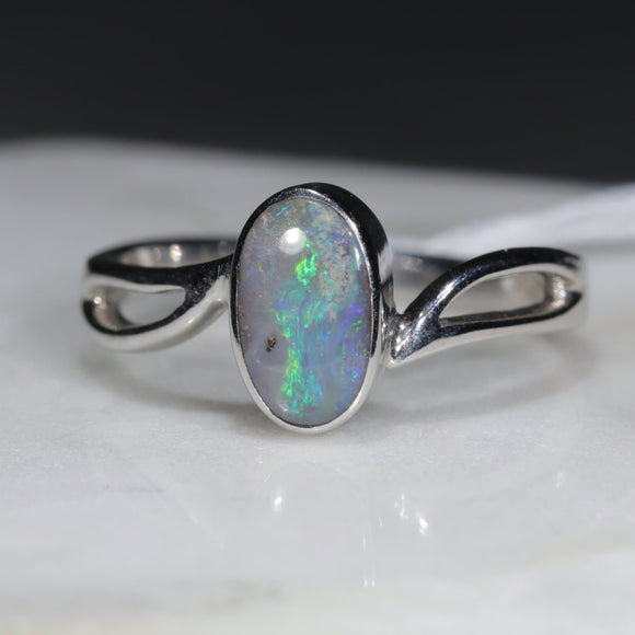 Natural Australian Opal Silver Ring - Size 8.5