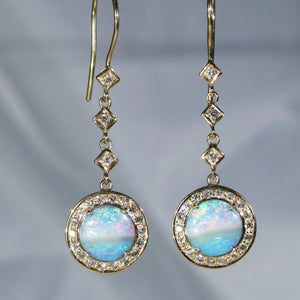 Natural Australian Boulder Opal and Diamond 18k Gold Earrings