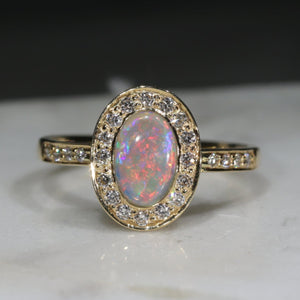 Natural Australian white Opal and Diamond 18k Gold Ring - Size 7.25