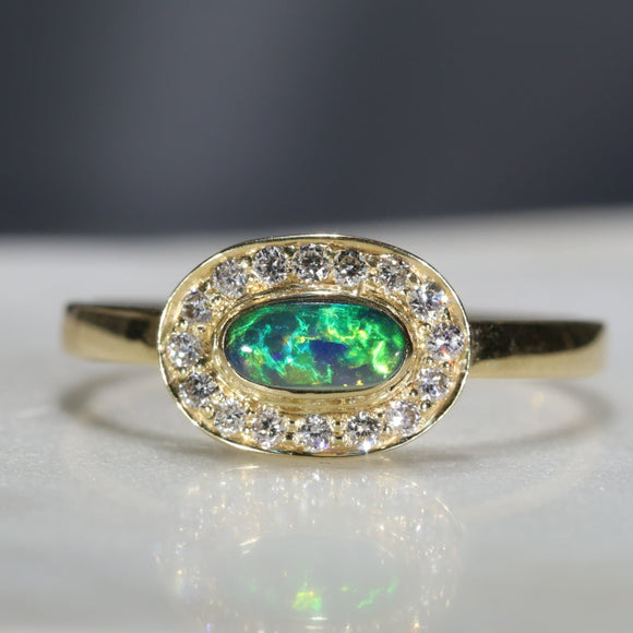 boulder opal engagement ring