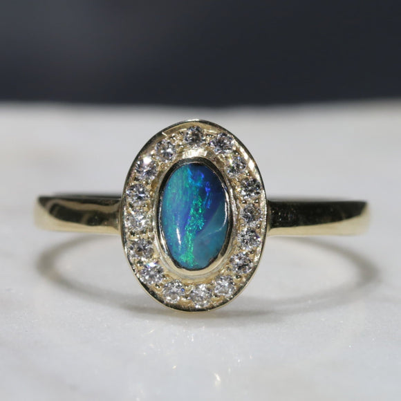 Natural Australian Boulder Opal and Diamond Gold Ring - Size 7.75