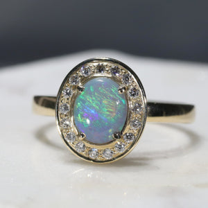 Natural Australian Opal and Diamond Gold Ring - Size 7