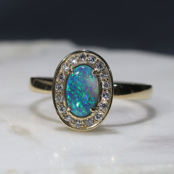 Natural Australian Black Opal and Diamond Gold Ring - Size 7