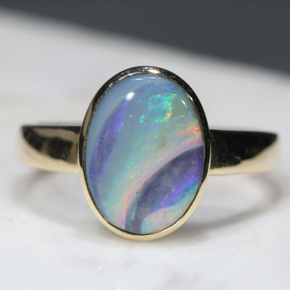 Natural Australian Boulder Opal with Amazing pattern  Gold Ring - Size 7.5