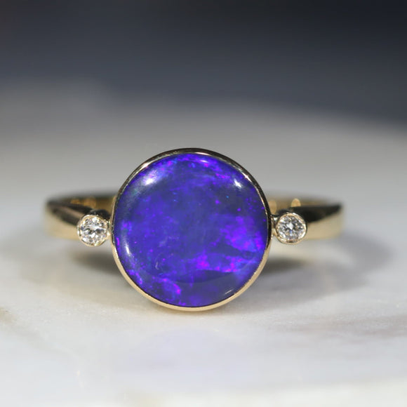 Natural opal universal gold ring
