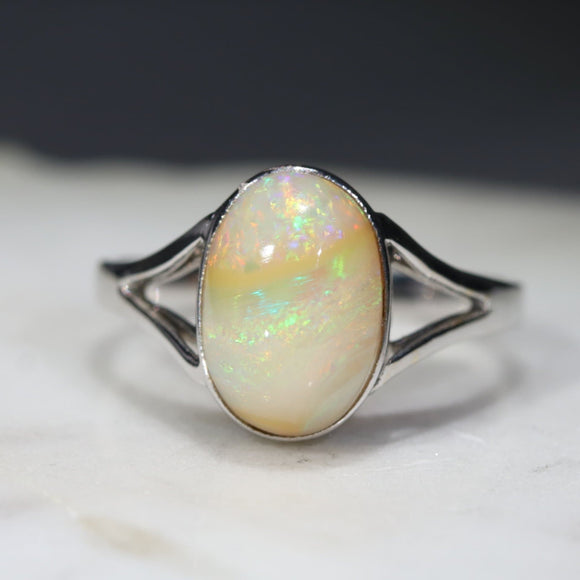 Natural Australian Boulder Opal 18k White Gold Ring - Ring Size 7