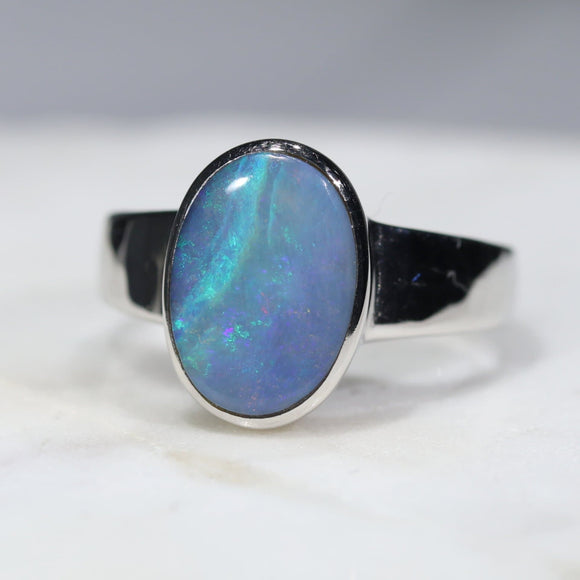 Australian Solid Boulder Opal Silver Ring - Size 6.5