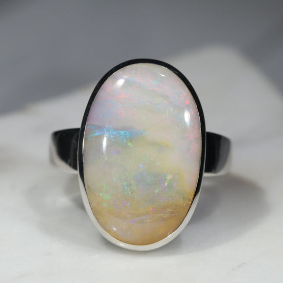 Large Australian Solid Boulder Opal Silver Ring - Size 9