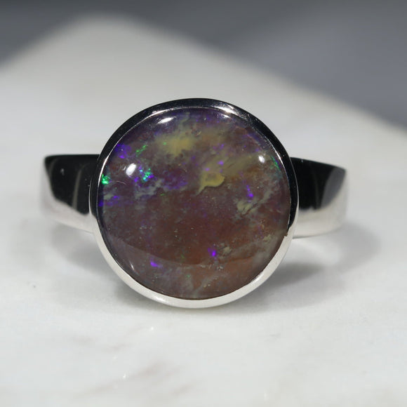 Australian Solid Boulder Opal Silver Ring - Size 9.5 Code - R17