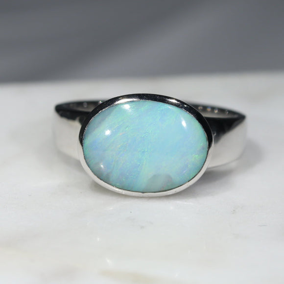 Australian Solid Boulder Opal Silver Ring - Size 7.25