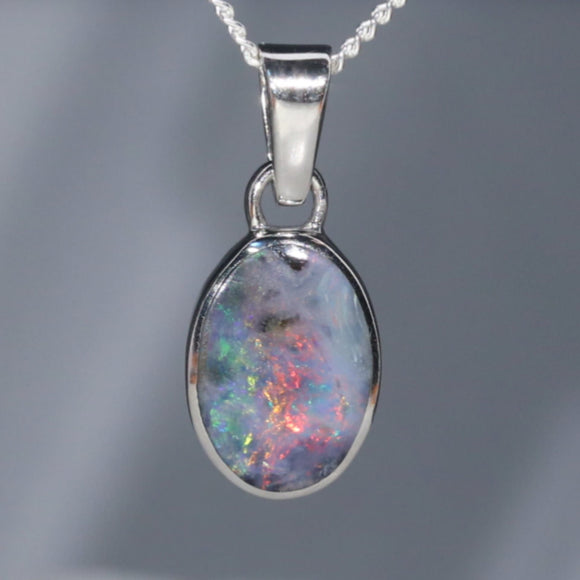 Natural Australian Boulder Opal  Silver Pendant with Silver Chain