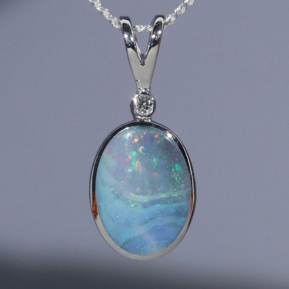 Natural opal sunset ocean silver pendant