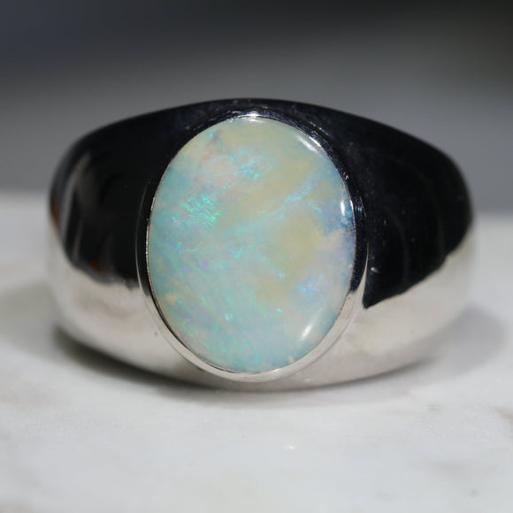 Natural Boulder Opal Mens Silver Ring -Size 15