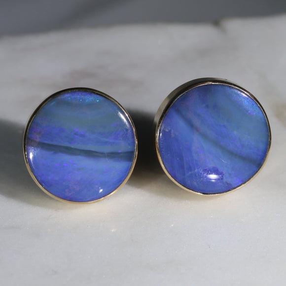 Large Natural Australian Boulder Opal Gold Earring Studs