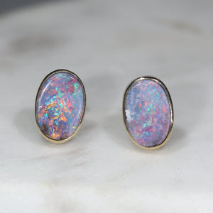 Natural Australian Boulder Opal  Gold Earrings