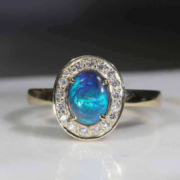 Natural Australian Black Opal and Diamond Gold Ring -Size 7