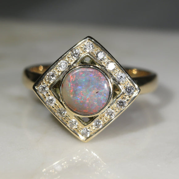 Boulder   opal diamond gold ring sydney