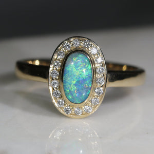 Natural Australian Boulder Opal and Diamond Gold Ring - Size 6