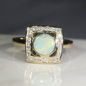 Natural Australian Boulder Opal and Diamond Gold Ring - Size 8