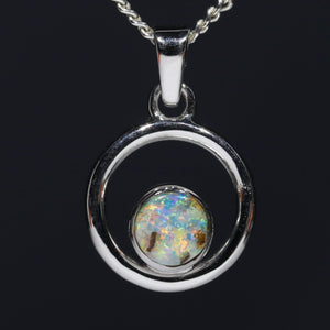 Natural opal glowing sunrise silver opal pendant