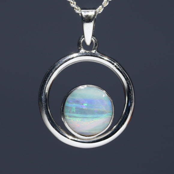 Natural opal beach silver pendant