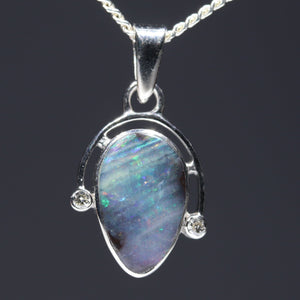 natural opal colourful lights silver pendant