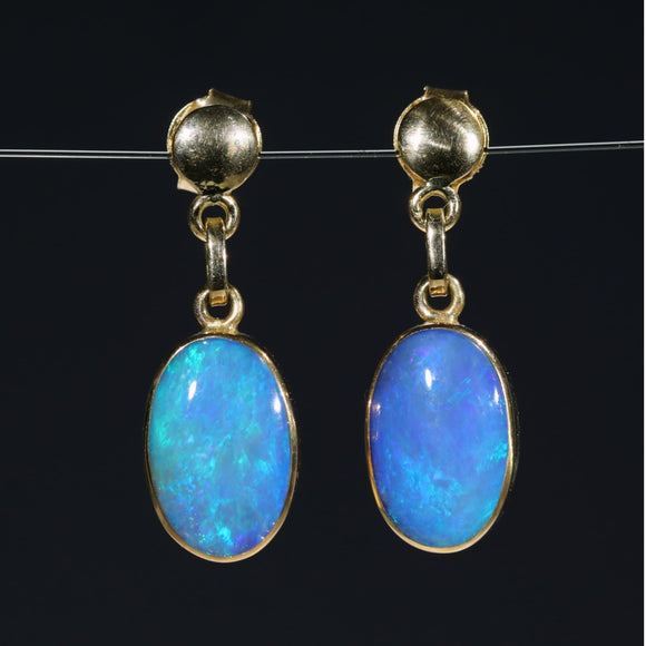 Natural Australian  Boulder Opal 18k Gold Earrings