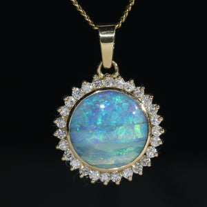 Round Opal Gold Pendant