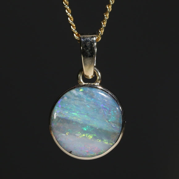 Natural opal ocean shore 10k gold pendant
