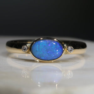 Natural Australian Solid Opal and Diamond 18k Gold Ring Size 7.25