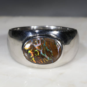 Natural Boulder Opal Matrix Mens Silver Ring -Size 8.5