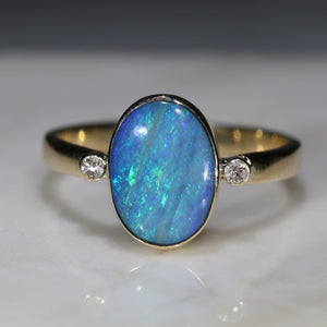 Natural  Opal an Green and Blue Opal Ringd Diamond Gold Ring UK