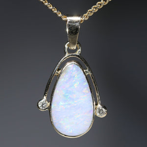 Natural White Australian Boulder  Opal  and Diamond  Gold Pendant