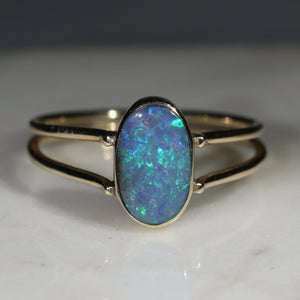 Natural Australian Boulder Opal Gold Ring - Size 5.5