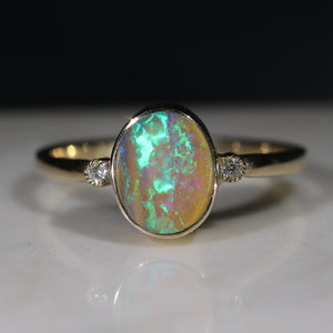 Natural Australian Boulder Opal & Diamond Gold Ring - Size 7