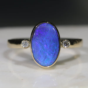 Natural Australian Blue Boulder Opal and  Diamond Gold Ring.  Size 9.5