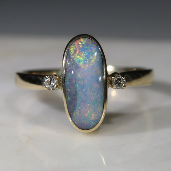 Natural Australian Boulder Opal and Diamond Gold Ring - Ring 6.5