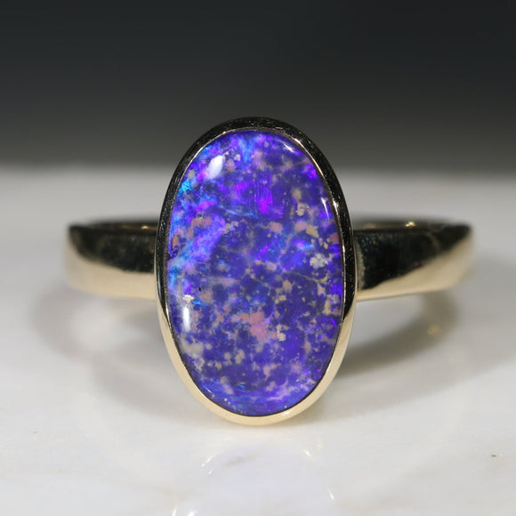 Natural Australian Blue Boudler Opal Gold Ring - Size 9