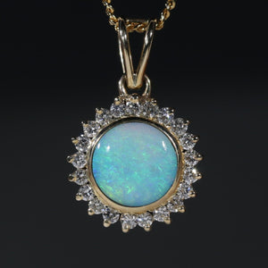 Natural  Australian Boulder  Opal  and Diamond Gold Pendant
