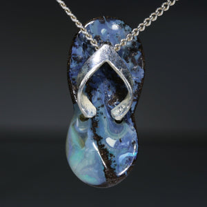 Australian Boulder Opal  Silver Thong Pendant with Silver Chain