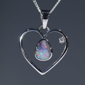 Natural opal love heart white gold pendant