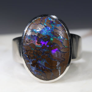 Natural opal earth silver ring