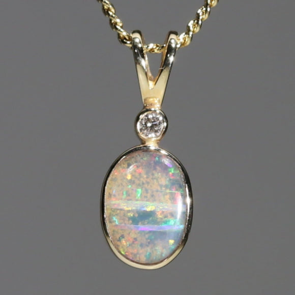 Australian Boulder Opal and Diamond 18k Gold Pendant Code -GPA147 USA