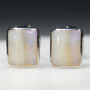 Sterling Silver Opal Earrings Studs