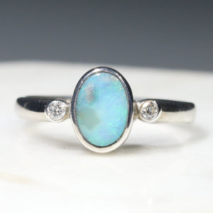 Opal and Diamond Silver Ring