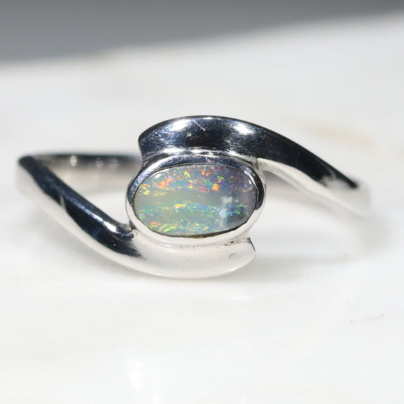 Simple Opal Silver Ring