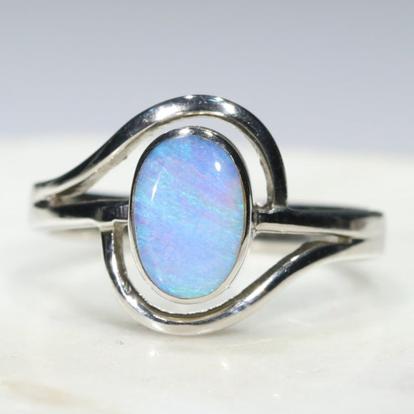 Silver Blue Green Opal Ring