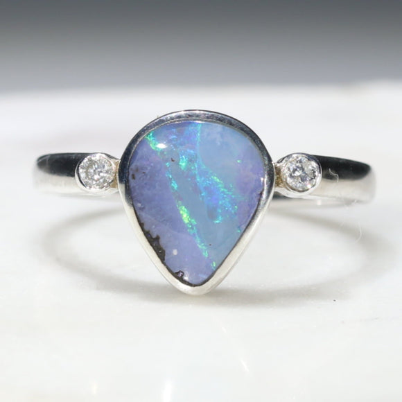 Silver Pear Shape Opal Ring